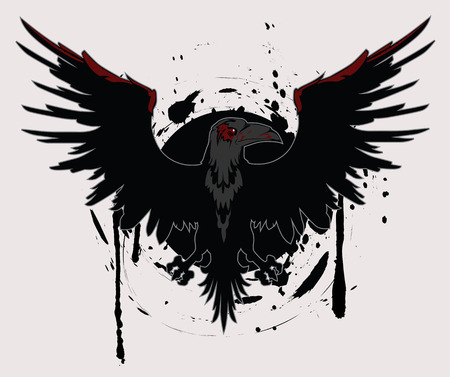 Dark Raven Grunge Vector Illustration Vector