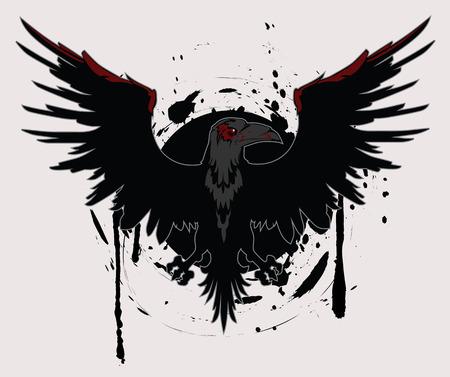 Dark Raven Grunge Vector Illustration