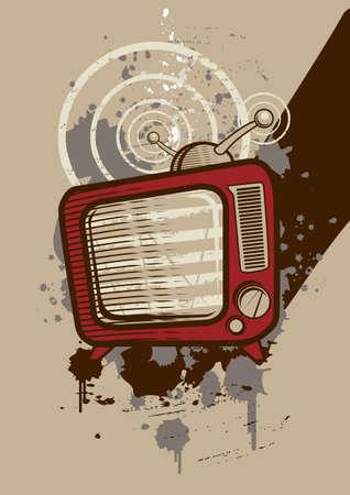 vintage television: Vintage television on grunge background