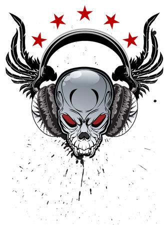 listening: Skull listening to music on headphones Illustration