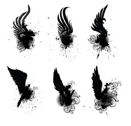 tatouage ange: Héraldique ailes Set Vector Illustration