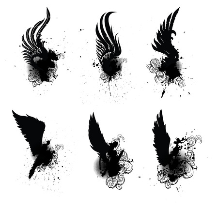 tatouage ange: H�raldique ailes Set Vector Illustration
