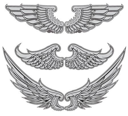 engel tattoo: Heraldische Flügel Set Vector Illustration
