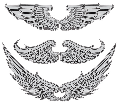 Heraldic Wings Set Vector Illustration Illustration