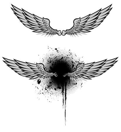 Heraldic Wings Set Vector Illustration Illustration