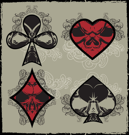 Card suits in style skulls Vector