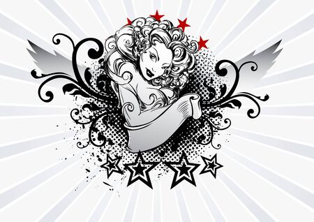 tattoo vector: Vector coat of arms tattoo sexy girl
