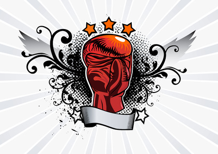 combative: Icon box with wings and grunge elements