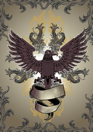 ominous: Eagle Emblem and Floral Element Illustration