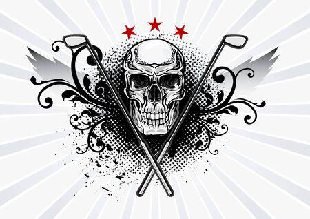 Sport Emblem Golf Winged Skull