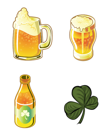 beer foam: Illustration Icons beers and clover