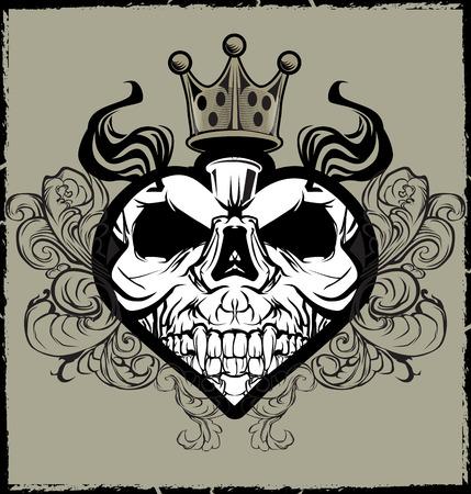 Skull Heart Tattoo Vector Illustration