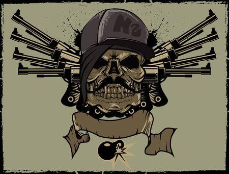ms: MS SKULL Illustration Gangsta warior Illustration