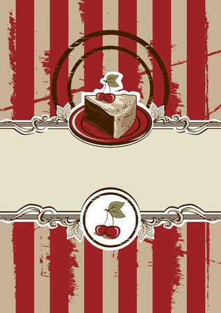 piece of cake: Cake Piece Vintage Vector Illustration