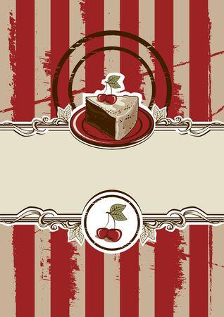 trozo de pastel: Pedazo de la torta Ilustración del vector de la vendimia Vectores