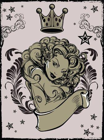 sexy tattoo: Tattoo Sexy Girl Vector Illustration