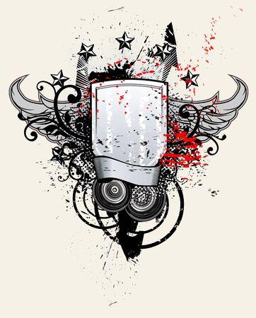 grunge banner: Shield Music Banner Grunge Illustration Illustration