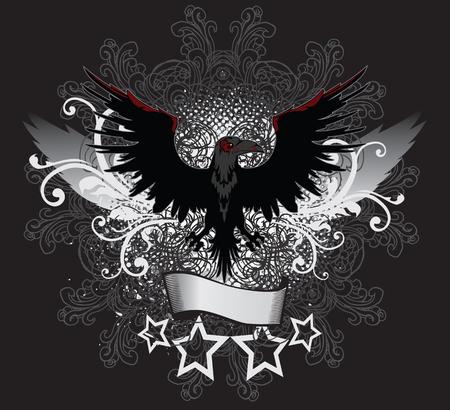 raven: Winged Dark Raven Emblem Illustration