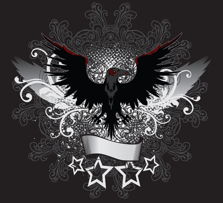 corvo imperiale: Winged Scuro Raven Emblema Illustrazione