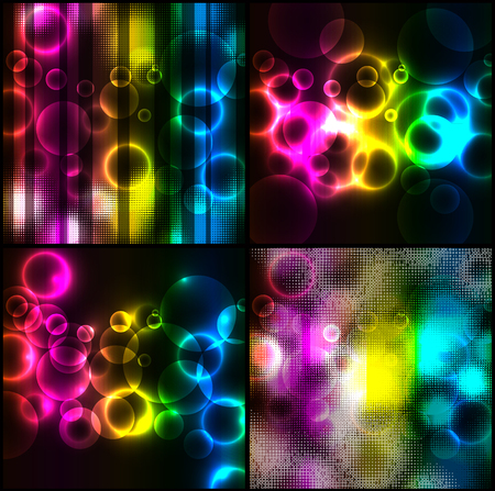 rainbow circle: Rainbow Circle Backgrounds Set  Illustration