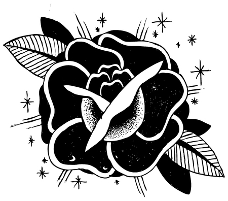 traditional plants: Roses Tattoo Sketch Doodle Illustration