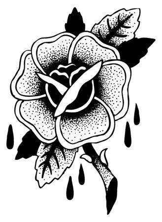 roses tattoo: Roses Tattoo Sketch Doodle Illustration