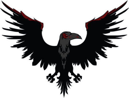 spread wings: Dark Evil raven with spread wings
