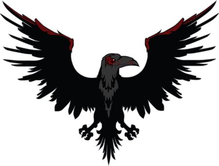 Dark Evil raven with spread wings