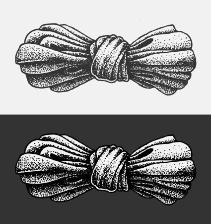cravat: Illustration Bow in the style of dot work