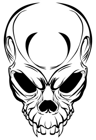 Illustration Wicked skull with fangs