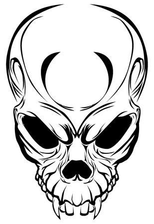 Ejemplo del cráneo travieso con los colmillos