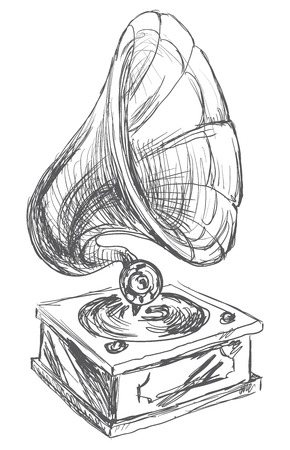 retro cartoon: Vintage Gramophone Illustration Doodle Style