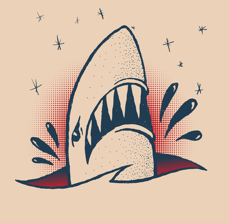 killer waves: Shark in the style of a traditional tattoo