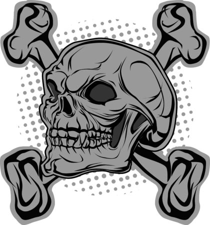 damnation: Angry skull and bones in background halftone Illustration