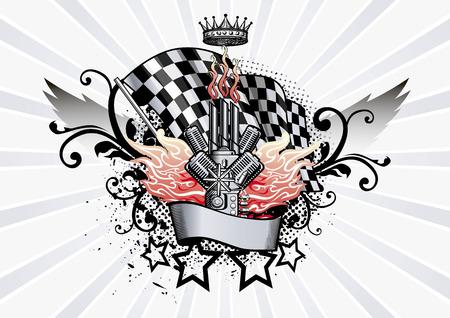 Winged Emblem racing engine and flames illustration Illustration