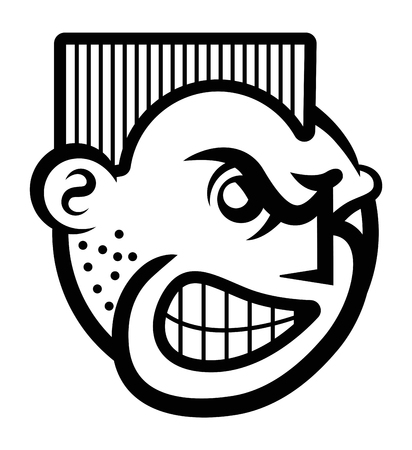 Smiley face icon of angry person