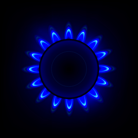 Gas flame with blue reflection. Vector background