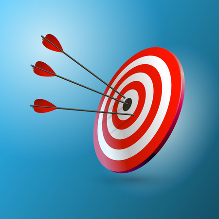 Arrows hitting a target. One target and three arrows. Business goal concept. Isolated vector illustration