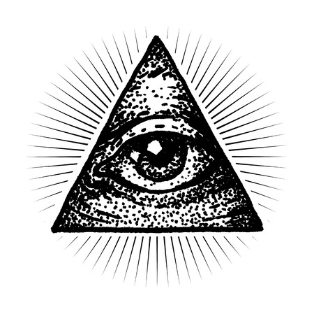 Masonic Eye Doodle Dot work Style Illustration