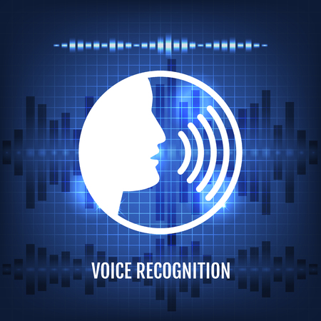 Voice Recognition Tech Icon and Futuristic Background Vector Illustration