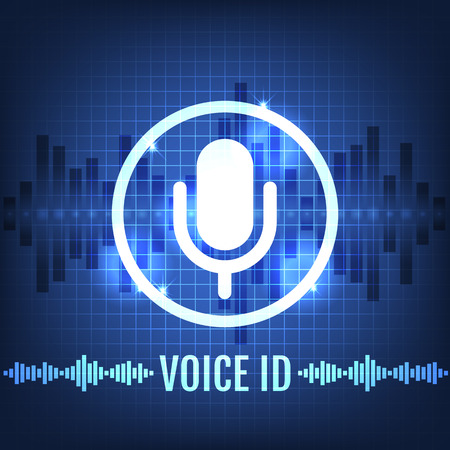 Voice ID Tech Icon and Futuristic Background Vector Illustration