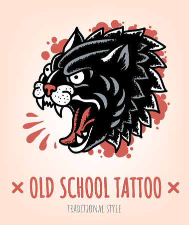 Wild Cat Old School Tattoo traditional Style