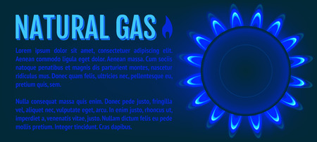 Natural Gas Banner. Kitchen gas stove. Vector realistic. Vector Illustration