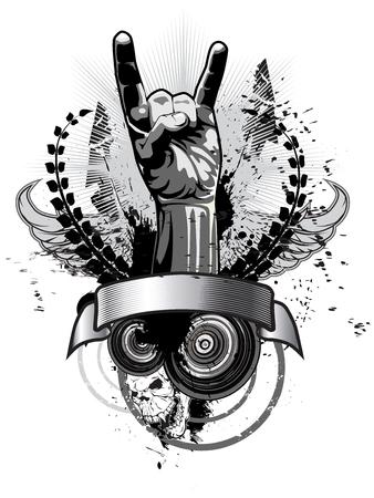 Póster sobre un tema musical en estilo grunge. Ilustración vectorial Ilustración de vector