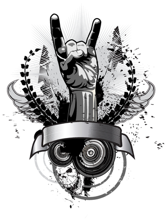 Poster on a theme of music in a grunge style. Vector illustration Vettoriali