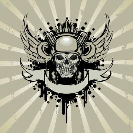 Skull in motorcycle style with engine and wings. Vector illustration Vecteurs