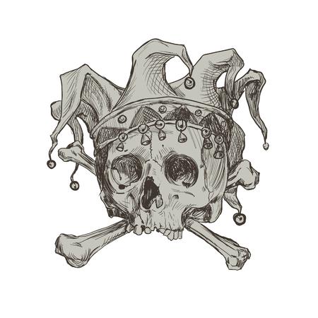 Main, dessinant le crâne d'un joker dans une casquette comique. Illustration vectorielle.