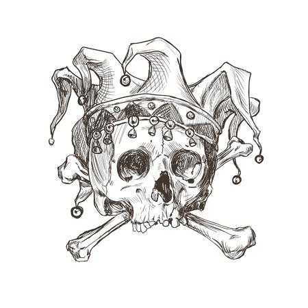 Croquis du crâne d'un joker dans une casquette comique. Illustration vectorielle.