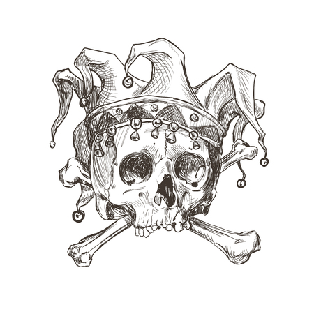 Sketch of the skull of a joker in a comic cap. Vector illustration.