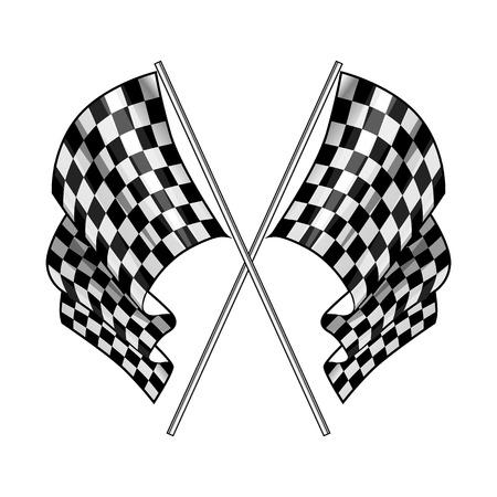 Checkered flag on white background. Vector illustration.